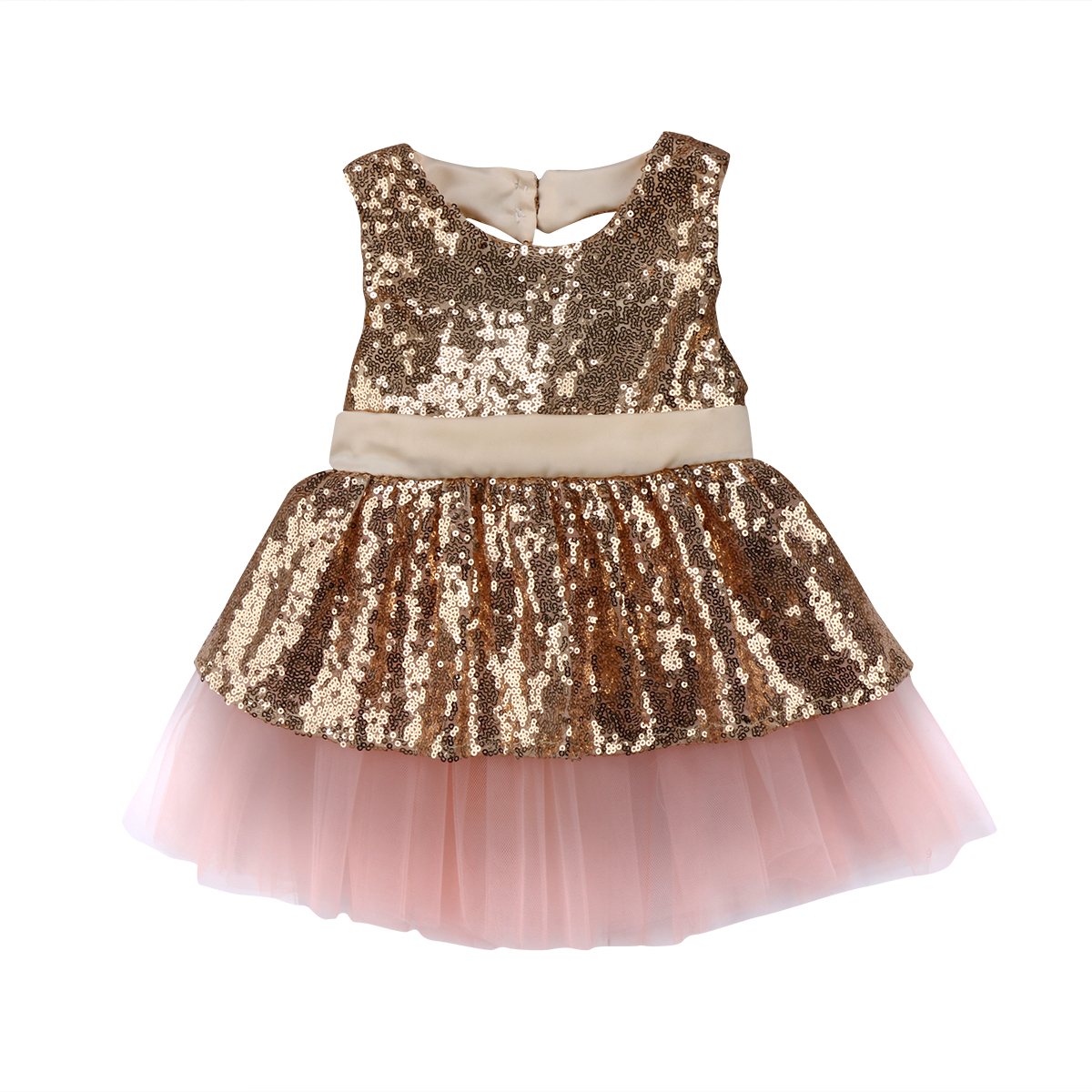 Toddler Kid Baby Girls Sleeveless Rainbow Sequined Lace Princess Romper Dress