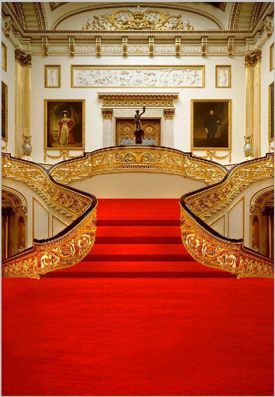 10x10ft Vintage Gold Court Grand Entrance Red Carpet Steps