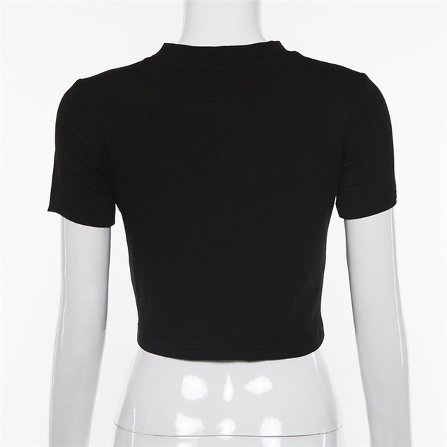 Evenworse 2019 summer girl tshirt O-neck black cosmic letter print short sleeves  sexy cute tees streetwear club crop tops
