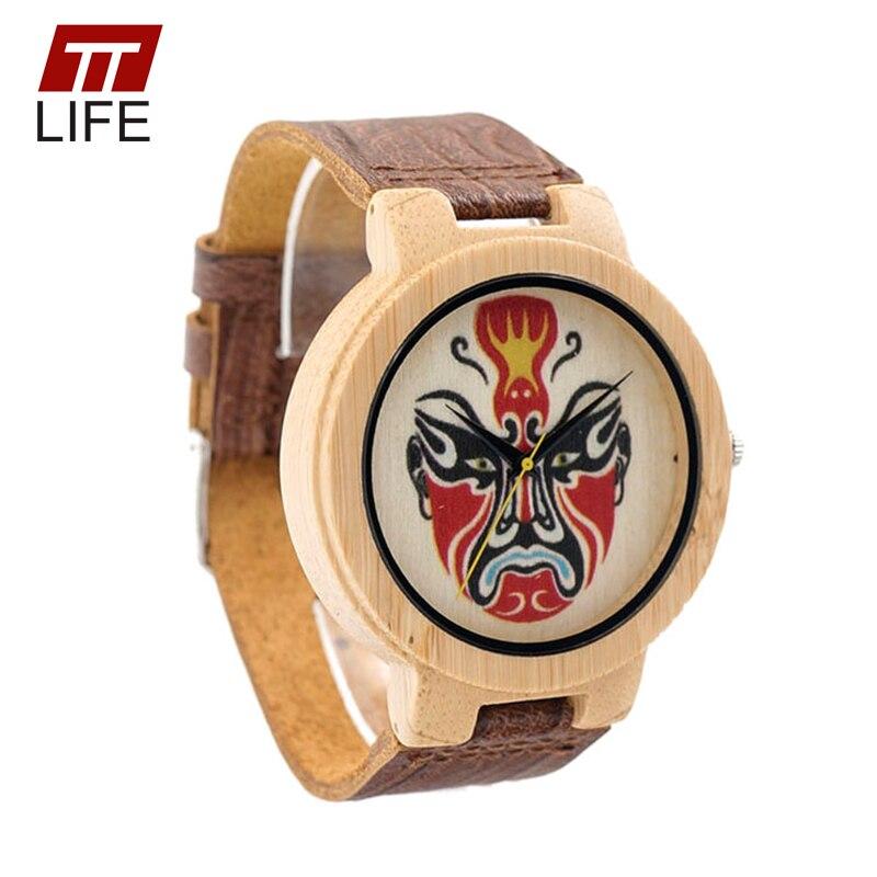 ФОТО TTLIFE Men Cool Red Face Peking Opera Dial Wood Watch Fashion Bamboo Quartz Watch Real Imitation Woody Leather Strap Wristwatch