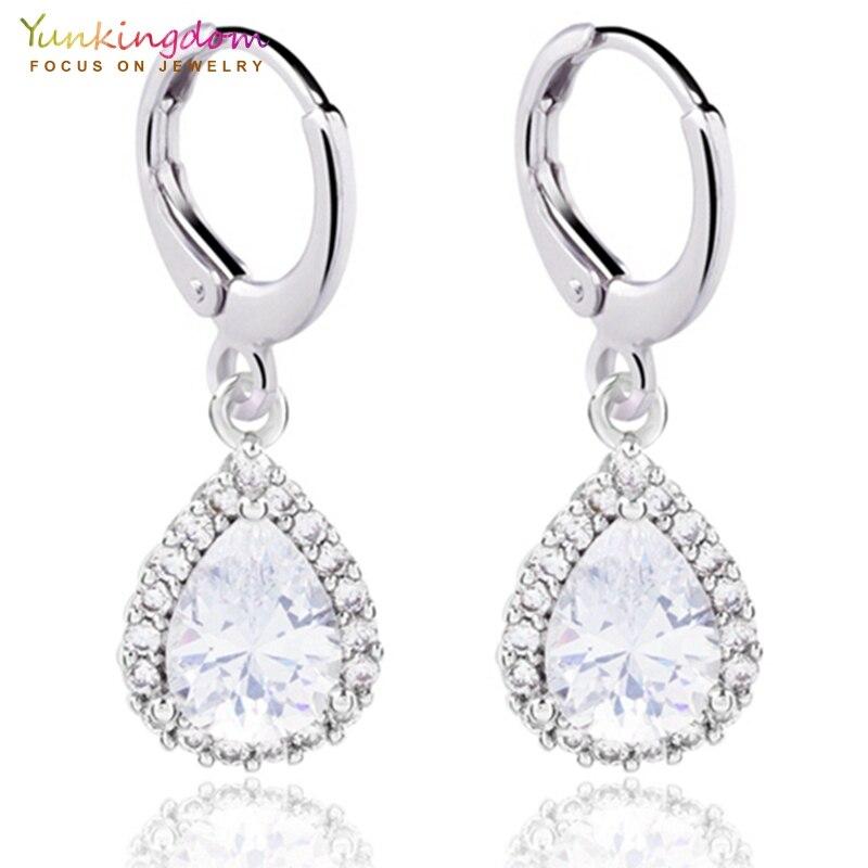 Yunkingdom white water drop crystal zircon small drop earrings for women lovely fashion jewelry earring wholesale