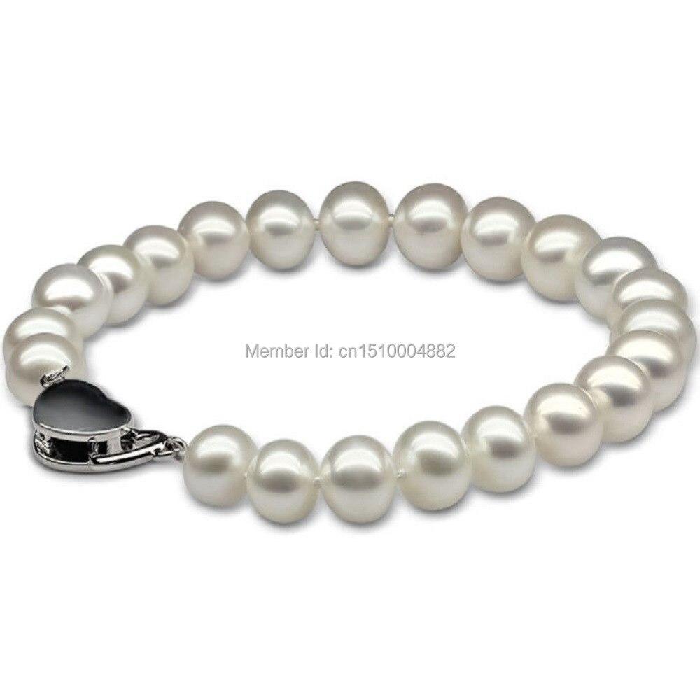 Shitou 00278 7.5-8mm Naturel D'eau Douce Essentiellement Ronde Perle 7-inch Bracelet En Forme de Coeur Fermoir