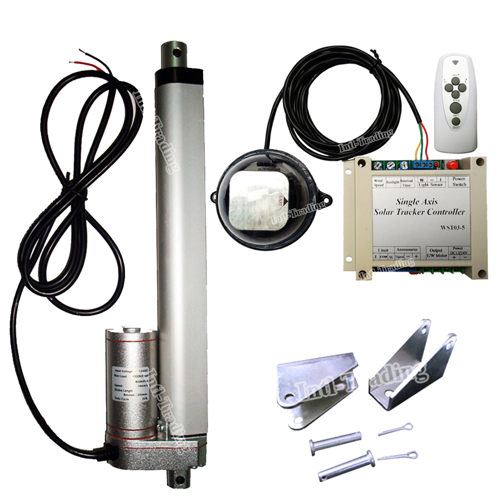 Solar Tracking Tracker Single Axis Complete Sunlight Track Kits 200mm 8 Stroke 12 DC Linear Actuator