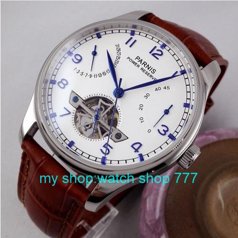 Parnis font b watch b font 43mm power reserve seagull st2505 movement Automatic Self Wind Men