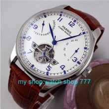 Parnis reloj 43mm power reserve st2505 gaviota movimiento Automático Auto-Viento relojes de relojes de Alta calidad al por mayor x00036