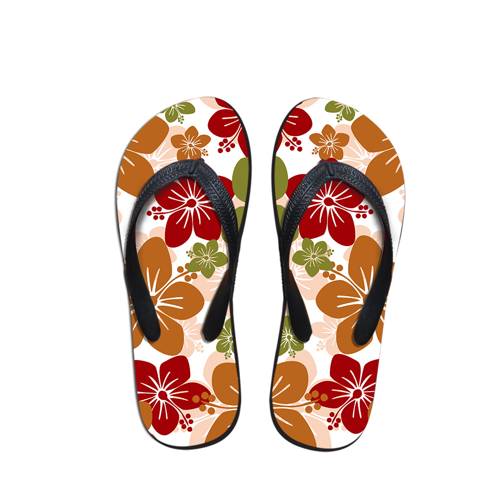 Lilac Cartoon Printed Flip Flops Flower Style Summer Ultralight Flipflops Slippers -9848