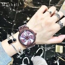Mashali marca mujeres reloj de cuarzo de las señoras reloj pulsera de diamantes top de moda de lujo vestido reloj relogio feminino montre femme