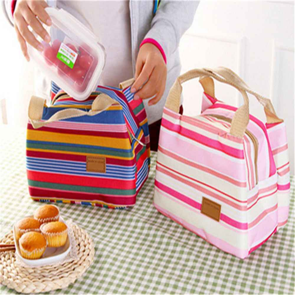 Insulated Canvas Stripe Picnic Carry Case Thermal Portable Lunch Bag For Women Men Girl Kids Children Carry Food Storage Case