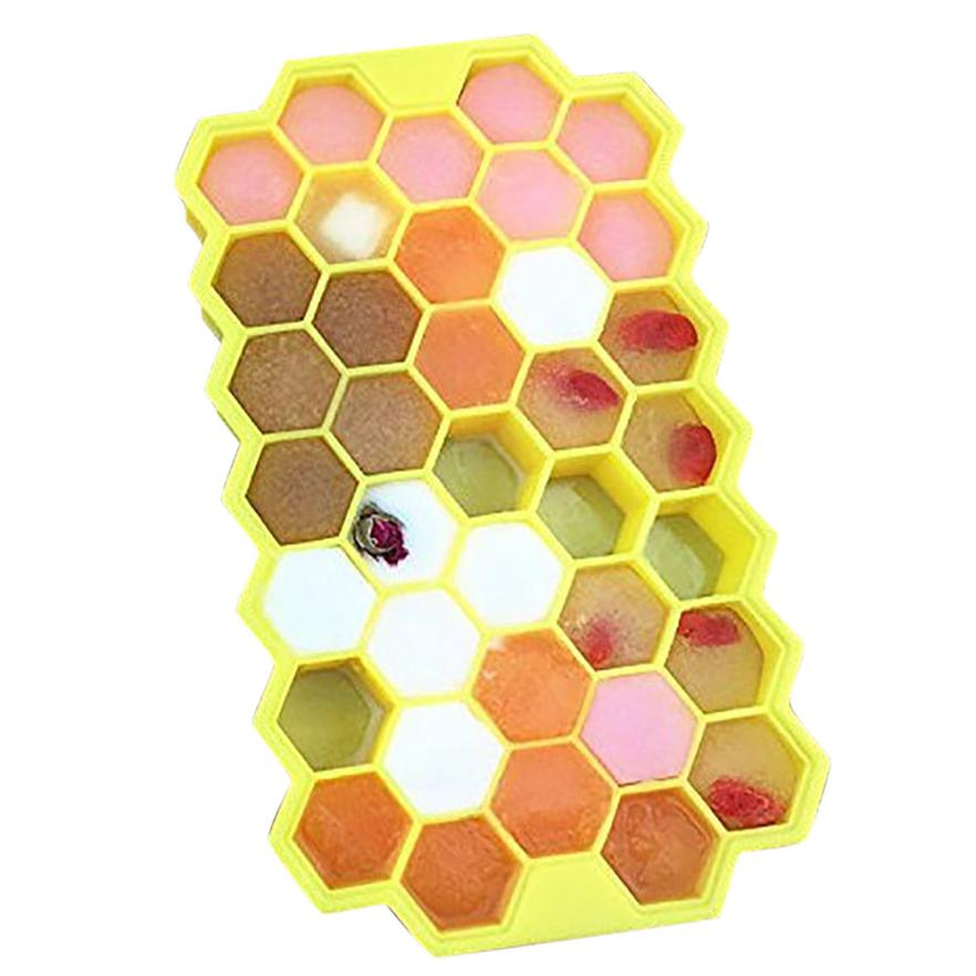 Honeycomb Shape Ice Tray Mold With 37 Cubes Storage Containers For Party