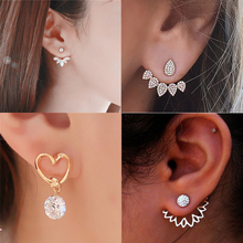 цены Hot Imitation Pearl Heart Crystal Flower Leaf Fish Geometry Stud Earrings For Women Statement Ear Jewelry Wholesale