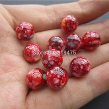 (30 Pieces/lot) 10mm Acrylic beads Printing beads Red Blue Yellow Color  for jewelry making