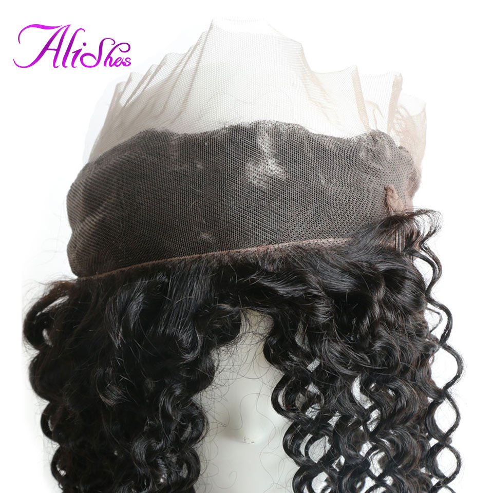 Alishes PrePlucked 360 Lace Frontal Malaysian Curly Hair Closure With Baby Hair Natural Hairline Remy Human Hair Closure