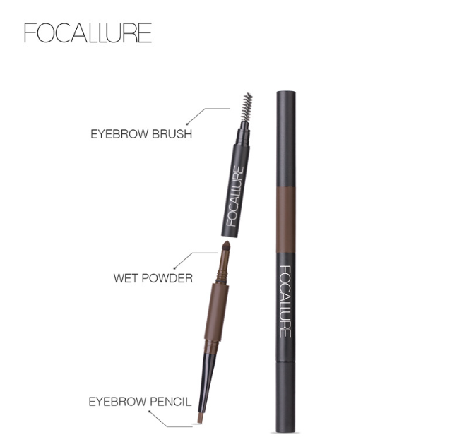 2018 Waterproof Eyebrow Pencil 3 in 1 Auto Brow Pen Shades Brush Powder Tint No Tone Make up Eye focallure  eyebrow tattoo pen
