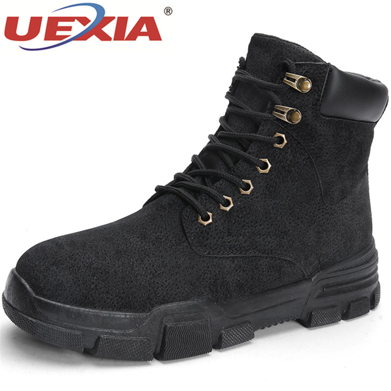 UEXIA Handmade Leather Shoes Men Snow Boots Winter Working Keep Warm Men Ankle Boots Lace Up High-top Comfort Flats Men Boots bole handmade leather men snow boots fashion designer lace up men ankle boots keep warm men casual shoes winter flats men boots
