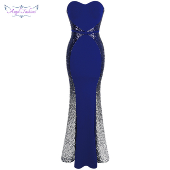 Angel-fashions New Prom Dresses Gradient Sequin Splicing Dress Blue 384