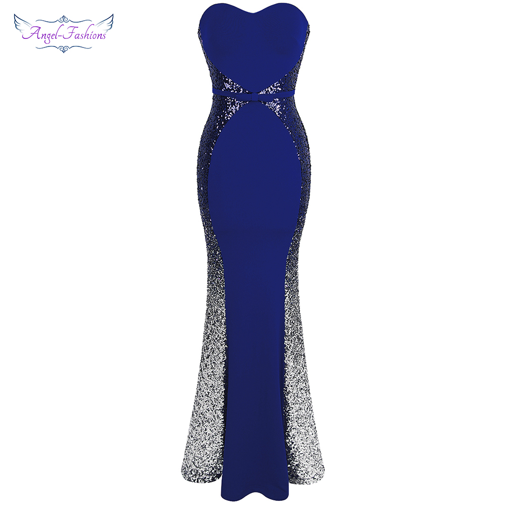 Angel-fashions New Prom Dresses Gradient Sequin  Robe De Soiree Abendkleider Splicing Dress Blue 384