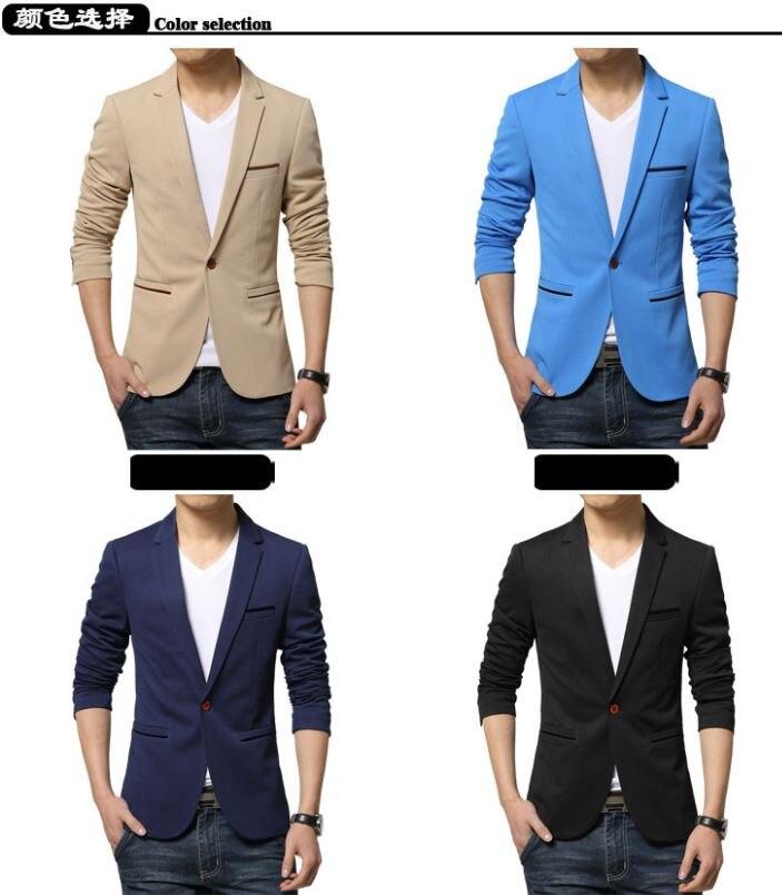 Mens Korean slim fit fashion cotton blazer Suit Jacket black blue beige plus size M to 6XL Male blazers Mens coat Wedding dress 9