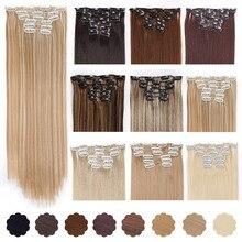 """AISI 22 красоты """"16 клипы 6 шт./компл. шелковистая прямая синтетический клип в наращивание волос для Для женщин накладные шиньон тепла нескользящие"""