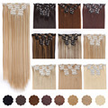 AISI BEAUTY 22 16 Clips 6Pcs/Set Silky Straight Synthetic Clip in Hair Extensions for Women False Hairpiece Heat Resistant