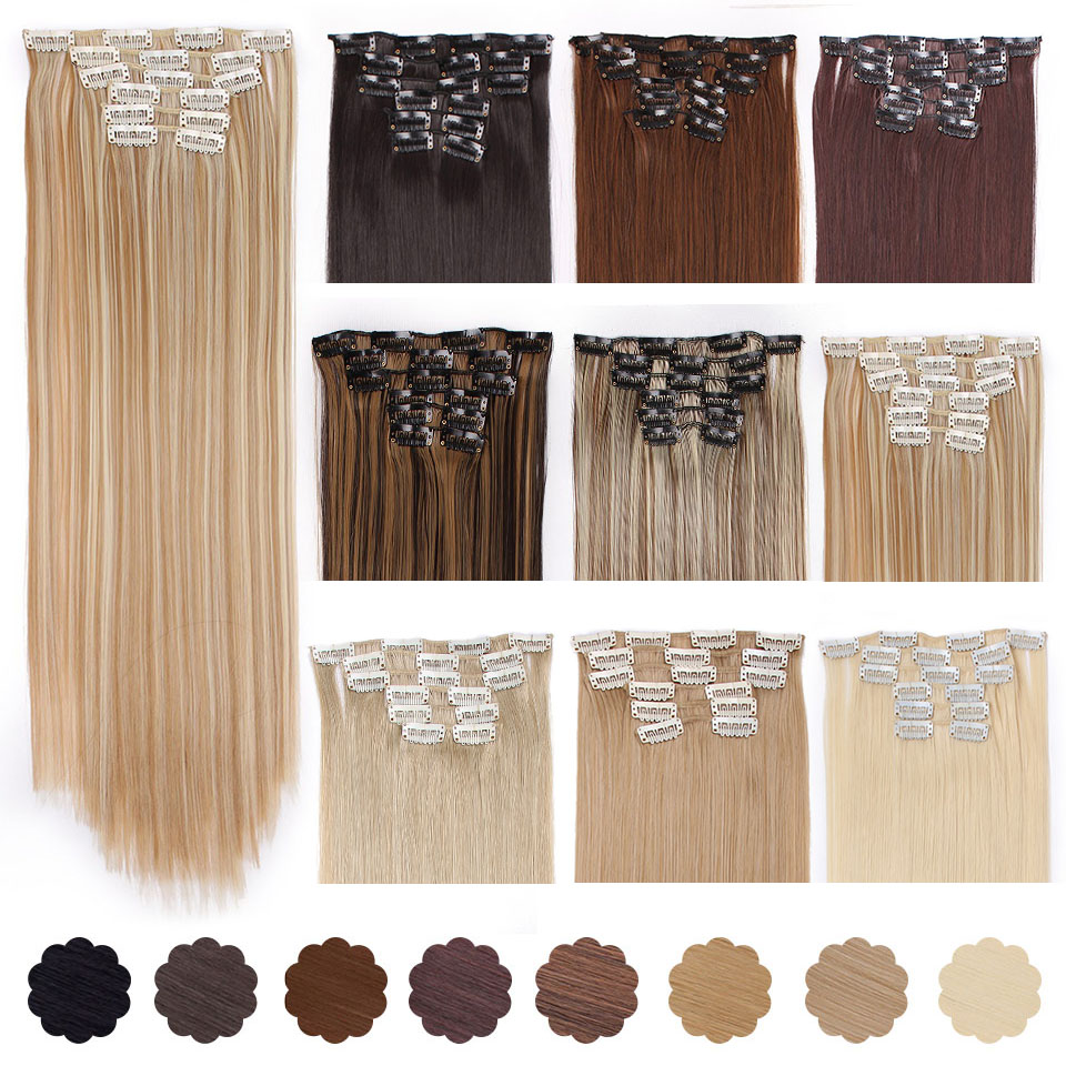 Clip-In Hair-Extensions False-Hairpiece Silky Heat-Resistant BEAUTY Straight Synthetic title=
