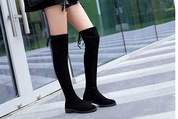 2018 moda Bahar Sonbahar rahat düz çizmeler prenses tatlı kadın botları şık düz akın ayakkabı moda Diz Yüksek çizmeler
