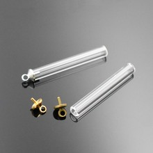 10set 30.5*4mm mini hollow glass tube with 5mm beads cap set no filler bottle vail pendant fashion DIY accessory