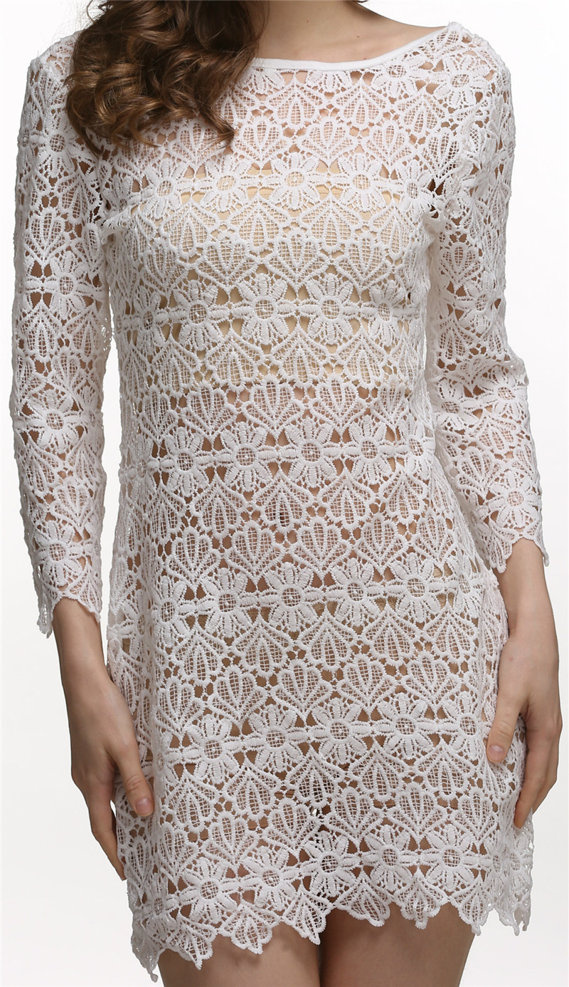 Embroidery Crochet Lace Sexy Dress 2017 Beach Wear Transparent Sexy ...