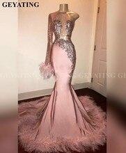 Glitter Sequin Lange Mouwen Mermaid Roze Zwart Meisje Prom Jurk met Veren Trein Een Schouder Afrikaanse Formele Afstuderen Jurken