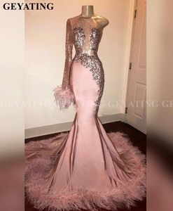 Glitter Sequin Long Sleeve Mermaid Pink Black Girl Prom Dress with Feathers Train One Shoulder African Formal Graduation Dresses(China)