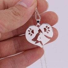 hzew  heart shape dog cat  claw silver and gold colors pendant necklace dog cat friend necklaces simple heart husky dog shape pendant necklace for men