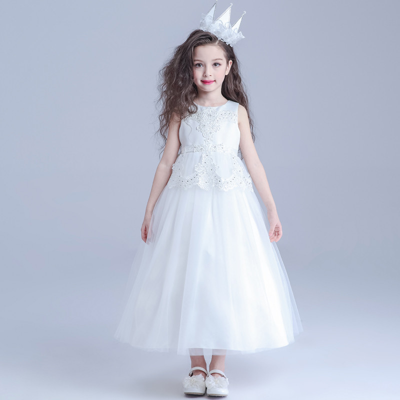 Formal Girls Birthday Dresses Long White Child Princess Flower Girl Vestidos For Weddings Costume Kids Clothes 2017 AKF164022 azel 4 12t children party wear short front long back formal dress white princess wedding flower girl vestidos girls clothes