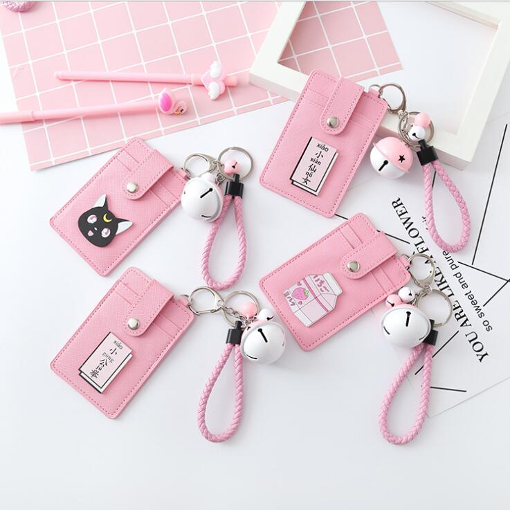 1PC 3 Jockey PU Leather Kawaii Pink Heart Bell Hanging Rope Card Holder Keychain Double Side Bus Bank Card Protection Case