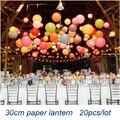 Atacado (20 pçs/lote) 12 ''(30 cm) Frete Grátis Chinês Lâmpada Lanterna de Papel Festival Festa de Casamento decoração Lanternas Brancas Novo