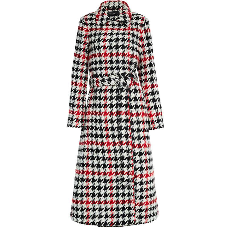 2018 new fashion women houndstooth pattern add long woolen overcoat sashes slim style high grade EU size S-L