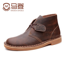 Maden Brand 2016 Genuine Leather Men Ankle Boots British Style Top Quality Martin Boots Desert Tooling Boots Botas Hombre