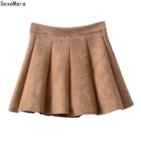Women Skirt Suede Leather Mini Skirt 2017 Autumn Winter Ladies High Waist Pleated Skater Skirt Saia DFM04