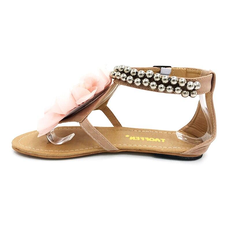 TAOFFEN Big size 34-43 Gladiator Sandals Women Bohemia Beaded Summer Flower Flat Heels Flip Flops Women's Shoes Tstraps Sandals