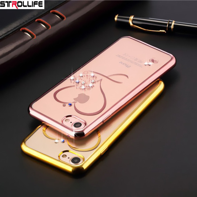 free shipping 35fee f2d58 US $1.86 22% OFF|STROLLIFE Rose Gold Plating Diamond Glitter Phone Cases  For iphone 8 case Love Heart Ultrathin Crystal Clear Cover For iphone 8-in  ...