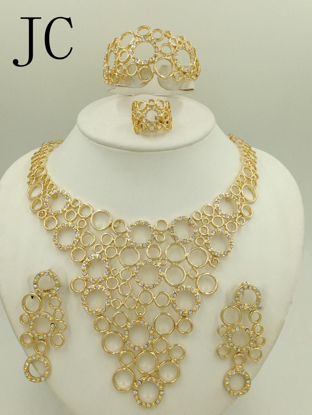 2016 New Fashion Dubai Whtie Gold Color Jewelry Sets Elegant line Crystal Costume Jewelry Sets Nigerian