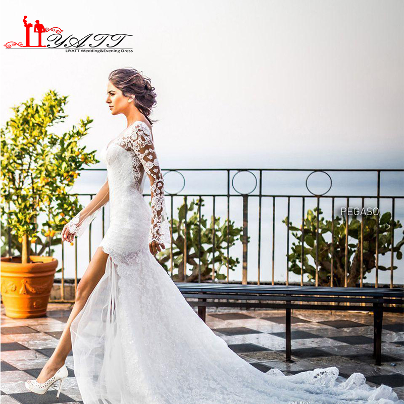 Buy white lace long high low wedding for Long sleeve high low wedding dresses