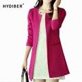 2016 Mulheres de Longo Blazer Casacos 4 Cores de Moda de Nova Sólidos Casual Plus Size Casaco Blazer Feminino