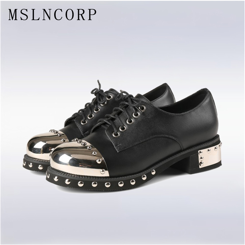 Plus Size 34-43 New Retro Genuine Leather Oxfords Women Shoes Lace Up Metal Rivet Round Toe Handmade Zapatos Mujer Casual Shoes new women casual boat ballet shoes women round toe flats oxfords breathable lace up walking shoes zapatos plus size 35 40 w237