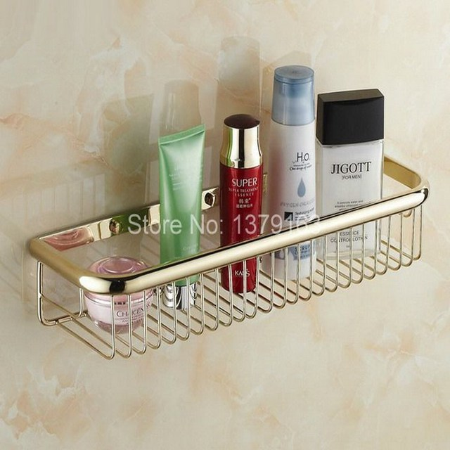 Luxury Gold Color Brass Wall Mounted Bathroom Storage Basket Bath ...