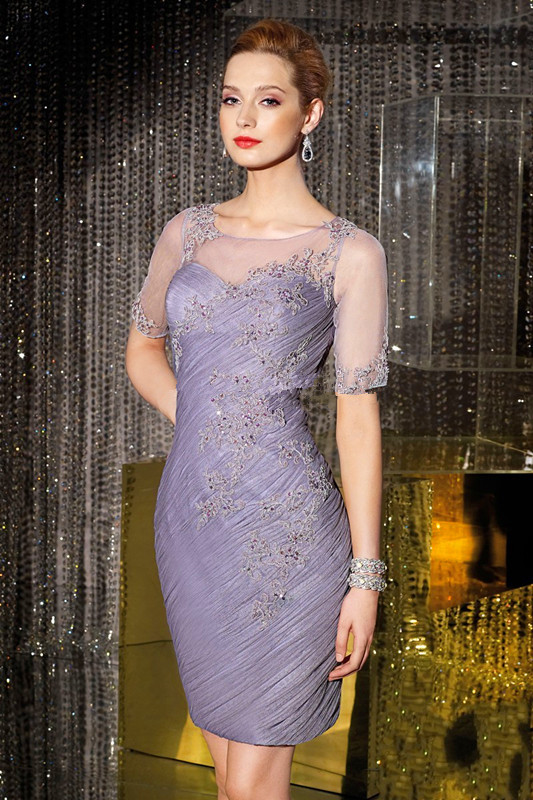 Free Shipping Robe De Soiree Appliques Short Sleeve 2018 Knee Length Brides Party Gown For Mother Of The Bride Dresses