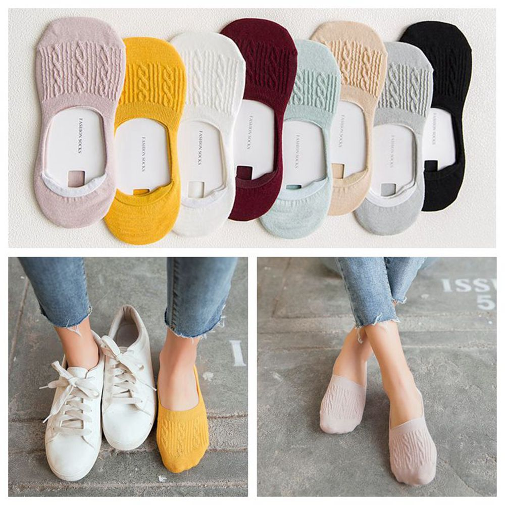 1Pair Candy Color Invisible Non-slip Low Cut   Socks   Fashion Women Casual Cotton Breathable Ankle Boat   Socks