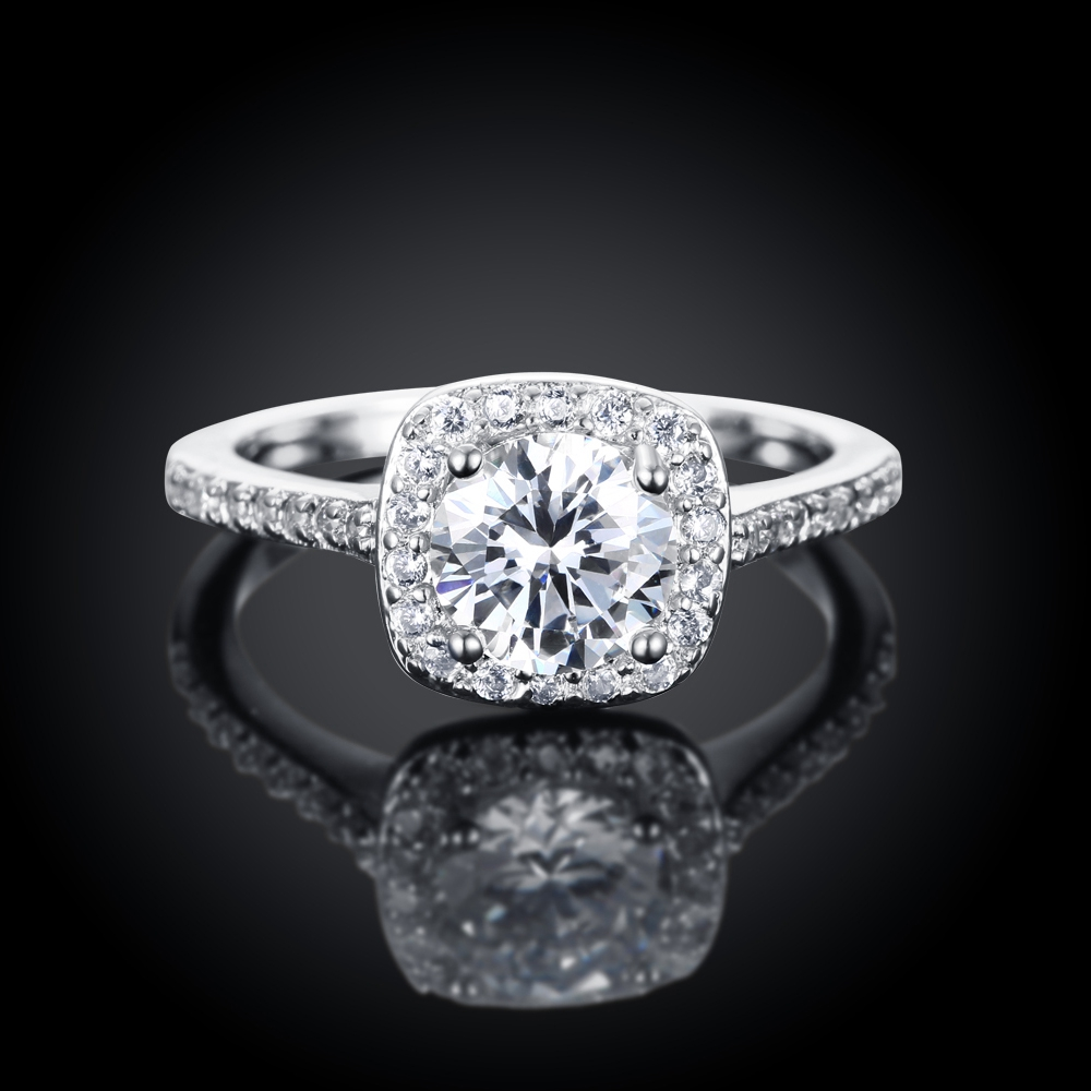 Fashion Rings Silver Color White Zircon Inlayed Crystal