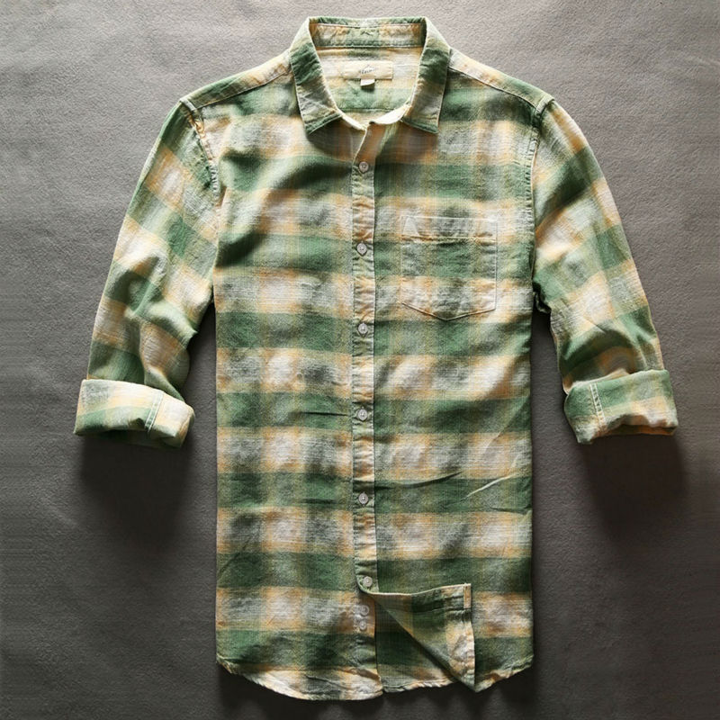 Plaid Checkered Shirt Casual Shirt Slim Fit England Social Cotton Linen Men Long Sleeve School Style