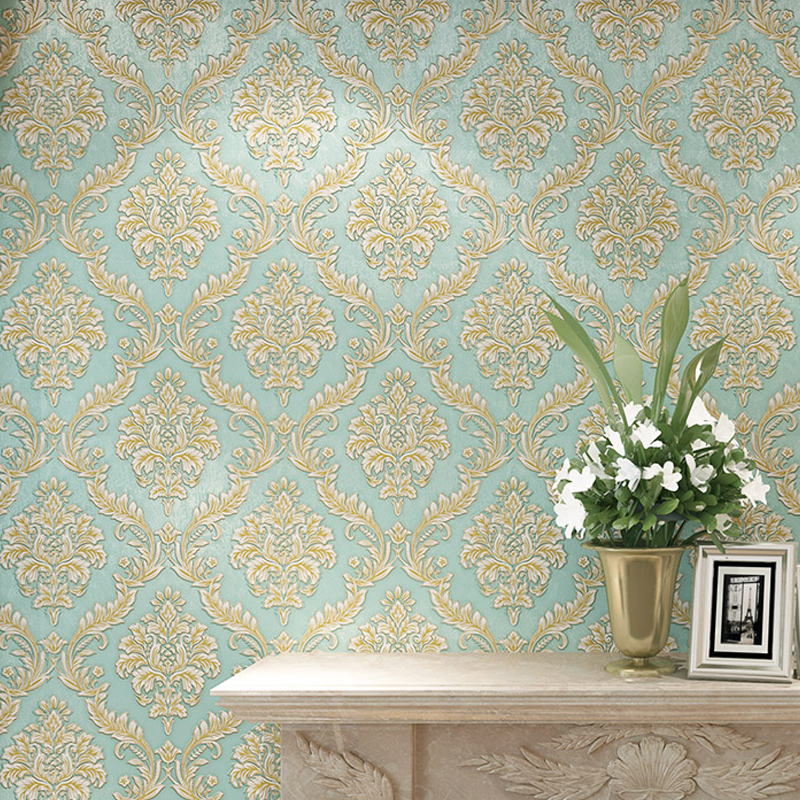 Luxury European Blue 3D Stereoscopic Thick Embossed Non-woven Wallpaper Damascus Bedroom Living Room TV Background Wall Paper