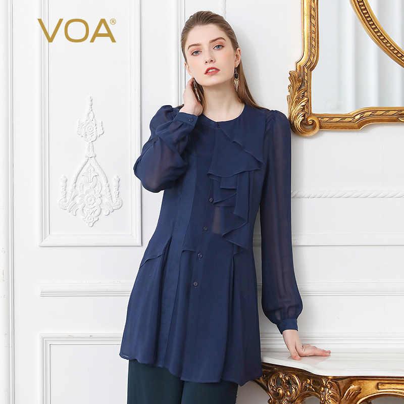 3ddcd737 VOA Sexy Mesh Georgette Silk Blouse Shirt Plus Size Women Tops Navy Blue  Slim Ruffle Lantern