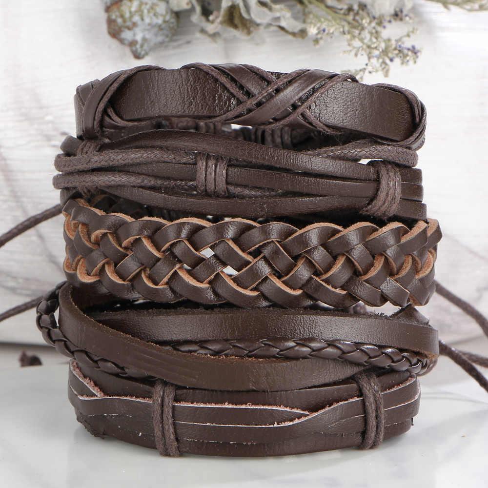 IF ME Винтаж коричневый цвет крест кожанные панк браслеты для мужчин и женщин 2018 Новый Повседневный многослойный Плетеный Браслет Модные ювелирные изделия